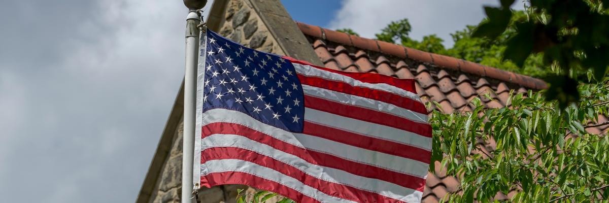 Ancestral home of George Washington flies the flag for Independence Day